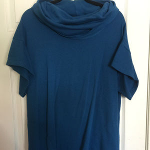 BYRN WALKER COWL NECK BLUE TUNIC Sz M NEW
